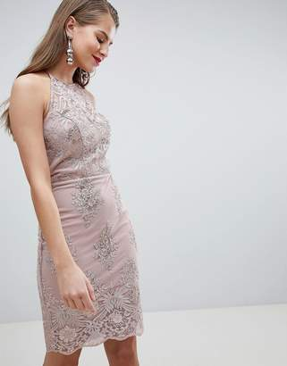 Lipsy sequin lace bodycon midi dress