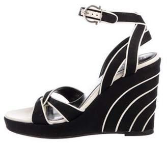 Salvatore Ferragamo Woven Wedge Sandals Black Woven Wedge Sandals