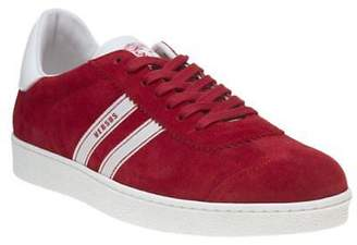 Versus New Mens Red Casual Suede Trainers Lace Up