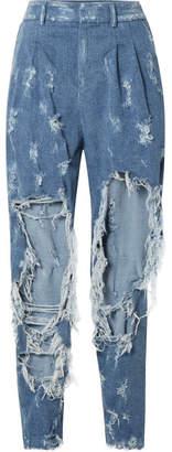 Balmain Distressed High-rise Boyfriend Jeans - Blue