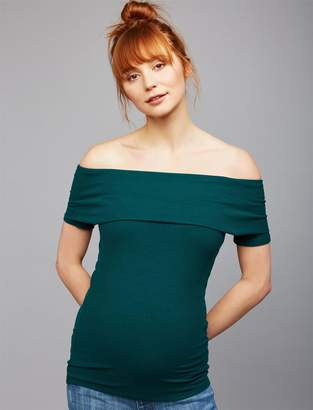 A Pea in the Pod Off The Shoulder Rib Knit Maternity Top- Botanical Green