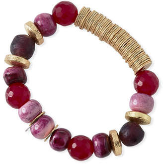 Akola Multihued Tiger's Eye & Jade Beaded Bracelet