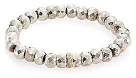 Sydney Evan Women's Silver Pyrite, Diamond & 14K Yellow Gold Rondelle Spacer Bracelet