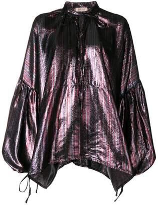Black Coral lace up blouse