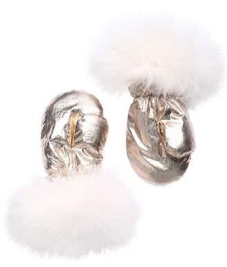 Yves Salomon Enfant Nylon & Fur Gloves