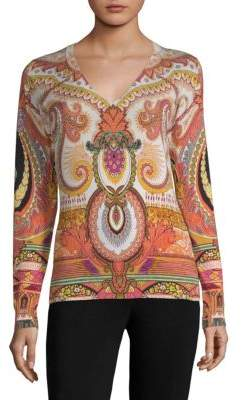 Etro 50th Anniversary Printed V-Neck Sweater