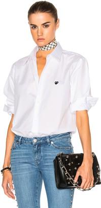 Comme Des Garcons PLAY Small Black Emblem Cotton Button Down $230 thestylecure.com
