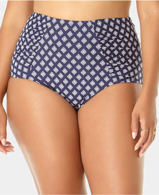 Anne Cole Plus Size Eyelet-Print High-Waist Bikini Bottoms Women Swimsuit