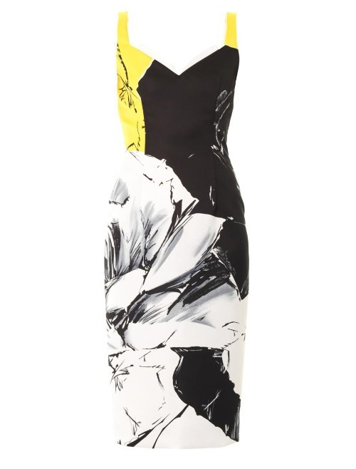 Prabal Gurung Classic rose-print fitted dress