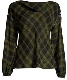 Ramy Brook Sloan Wool-Blend Plaid Cutout Top