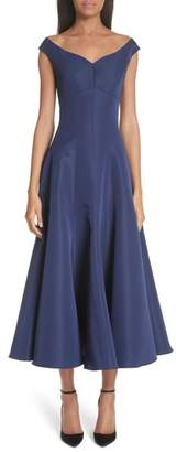 Christian Siriano Off the Shoulder V-Neck A-Line Silk Cocktail Dress