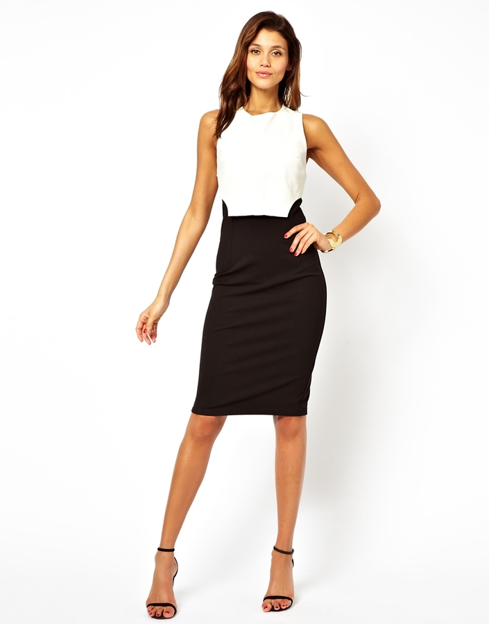 Asos Leather Look Overlay Contrast Dress