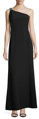Karl Lagerfeld PARIS One Shoulder Faux Pearl Brooch Column Gown