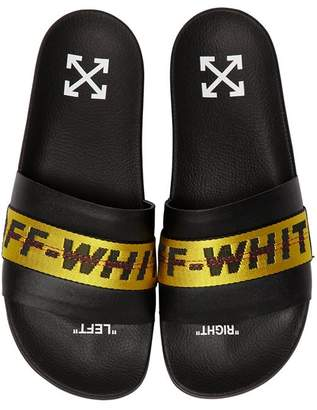 Off-White Logo Webbing Leather Slide Sandals