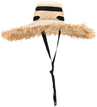 Lola Hats Alpargatas Bis Hat in Natural & Black   FWRD