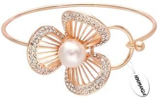 NOUMANDA Pretty Bridesmaid Jewelry Three Petal Flower with Pearl Easy Open Hook Bangle (rose gold)
