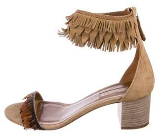 Aquazzura Feather & Fringe Sandals