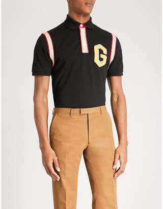 Gucci Varsity-style stretch-cotton polo shirt
