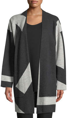 Eileen Fisher Graphic Merino Long Kimono Cardigan, Petite