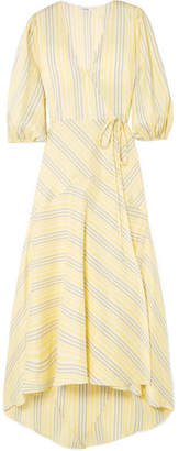 Ganni Striped Silk Midi Dress - Yellow