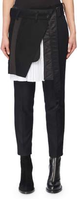 Sacai Pleated Wrap Skirt Front Skinny-Leg Wool-Blend Pants