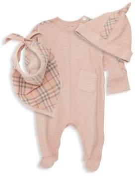 Burberry Baby Girl's Colby Three-Piece Beanie, Bib& Footie Set