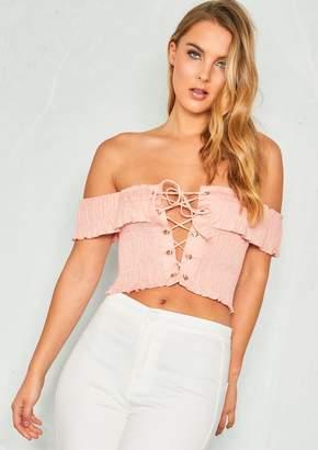 5a7c2598e9bbe Missy Empire Missyempire Jemma Pink Lace Up Smock Bardot Crop Top