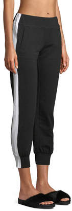 Norma Kamali Side-Stripe Cropped Jogger Pants