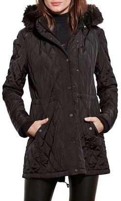Lauren Ralph Lauren Quilted Anorak with Faux Fur Trim $230 thestylecure.com