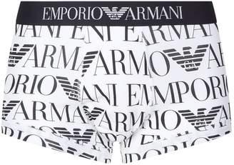 Giorgio Armani Stretch Cotton Logo Printed Trunks