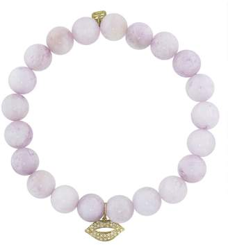 Sydney Evan Diamond Lips Charm On Kunzite Beaded Bracelet