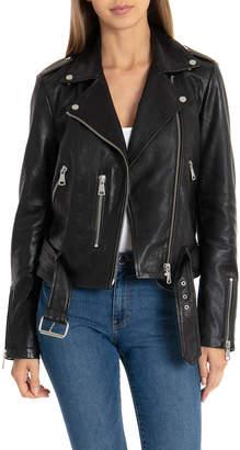 Bagatelle Pebbled Leather Biker Jacket