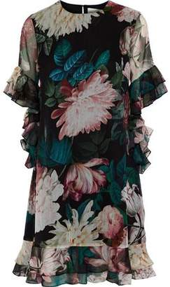 Sachin + Babi Cutout Ruffled Floral-print Chiffon Dress