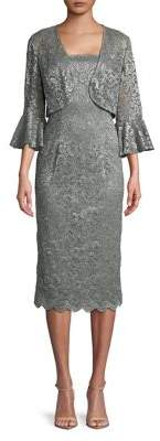 Alex Evenings Two-Piece Bell-Sleeve Jacket and Lace Sheath Dress