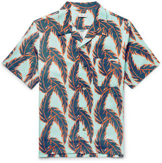 You As Miles Camp-Collar Printed Tencel Shirt