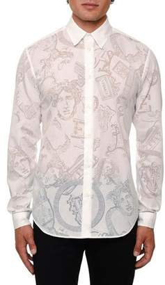 Versace Men's Sheer Jacquard Logo Sport Shirt
