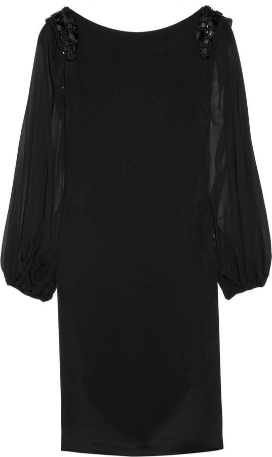 Notte by Marchesa Embellished sheer-sleeve silk dress