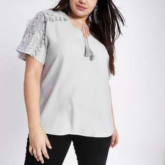 River Island Womens Plus grey tie neck embroidered flower top