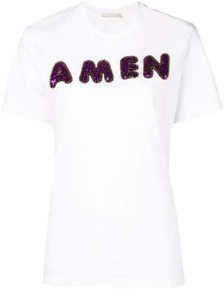 Amen sequin embroidered logo T-shirt