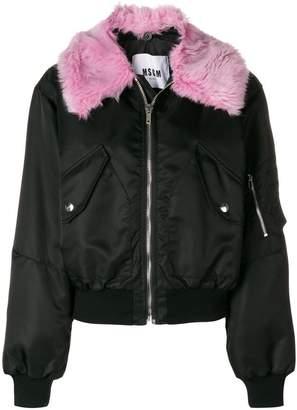 MSGM faux fur trim bomber jacket