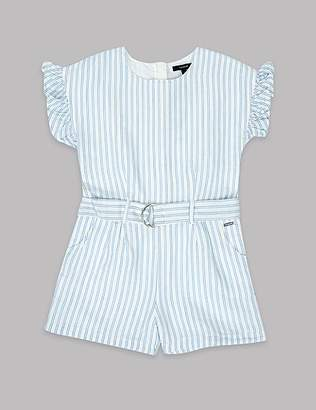 Marks and Spencer Frill Sleeve Striped Playsuit (3-16 Years)