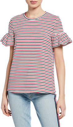 ENGLISH FACTORY Striped Smocked-Sleeve T-Shirt