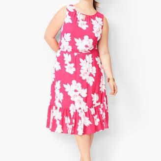 Talbots Floral Flounce-Hem Midi Dress