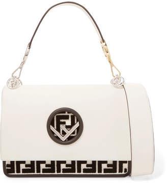 Kan I Flocked Leather Shoulder Bag - Off-white