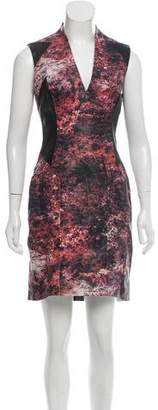 Helmut Lang Abstract Print Leather Dress