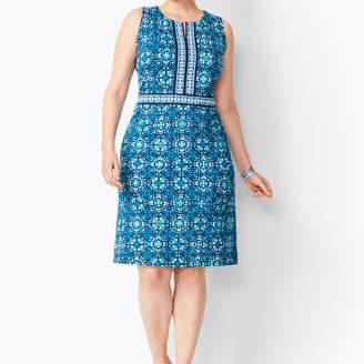 Talbots Tile Print Jersey Dress