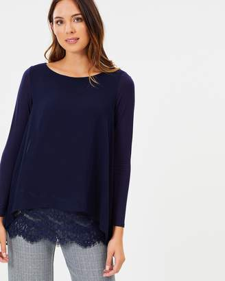 Wallis Lace Hem Layered Top