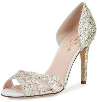 Kate Spade idaya d'Orsay glitter pumps, silver