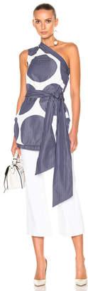 Stella McCartney Stripe Shirting One Shoulder Top