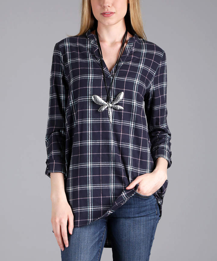 Blue & White Plaid Flannel Notch Neck Tunic - Plus
